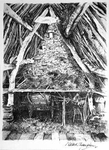 Cruck Barn scetch by M. Thompson